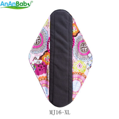 Ananbaby 10pcs Per Lot Printed Washable Cloth Menstrual Pads Reusable Bamboo Charcoal Sanitary Napkins Size 35.6 x 9cm