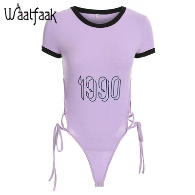 Waatfaak Side Bandage Jumpsuit Women Short Number Printed Hollow Out O Neck Short Sexy Bodysuit Femme Bodycon Skinny Summer 2018