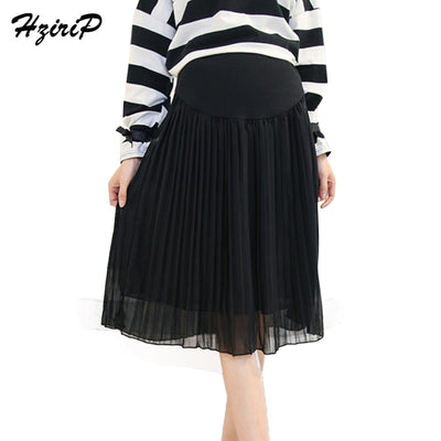 HziriP Maternity Skirts New 2018 Spring Fashion Chiffon Care Belly A-Line Pleated Skirt High Waist Black&Gray Pregnancy Clothes