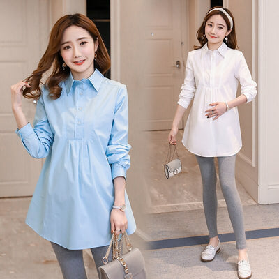 1801# OL Formal Work Maternity Blouses A Line Loose Ties Waist Shirts Clothes for Pregnant Women Spring Autumn Pregnancy Tops