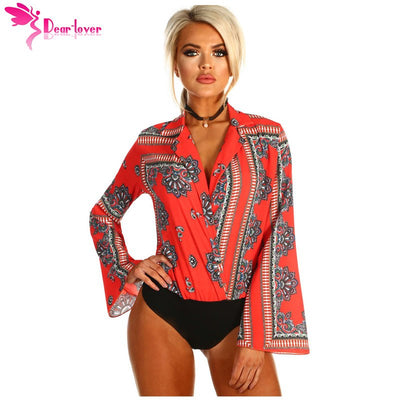 Dear Lover Autumn Bodysuit Long Sleeve Red Black Printed Flare Wrap V-neck Women Romper Short Jumpsuit 2018 Top Overalls LC32212