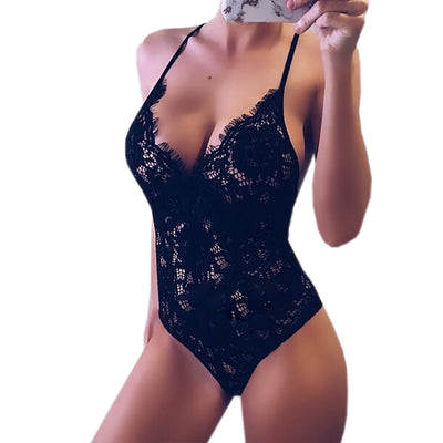 Perspective Sexy Body Top Clubwear Women Lace Bodysuit V-Neck Skinny Rompers Bodycon Feminino Backless Playsuit Overalls M0058