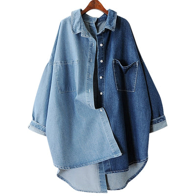 LANMREM 2018 Autumn Single Button Full Batwing Sleeve Color Spliced Pocket Ladies Fashion Denim Jacket MA70505