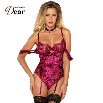 Comeondear Body Femme Off Shoulder Bodysuit Lace Sleeves Back Strappy Bodysuit Short Jumpsuit Women Velvet Bodysuit RJ80604
