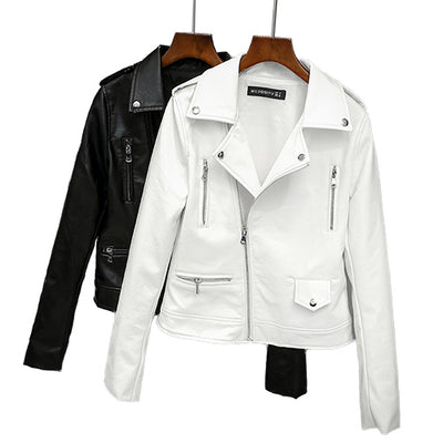 Fitaylor 2019 New Spring Autumn Women Biker Leather Jacket Soft PU Punk Outwear Casual Motor Faux Leather White Jacket