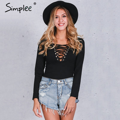 Simplee Cross lace up jumpsuit romper women Sexy v neck bandage bodysuit overalls Autumn winter knitted playsuit leotard