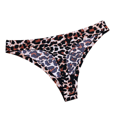 Hipster leopard Sexy Thongs Women Underwear Ice Silk Invisible Seamless Panties No Trace Tangas Female Lingerie g String Bikini