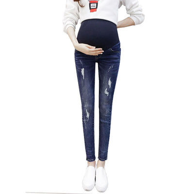Abdominal Pants Maternity Jeans For Pregnant Women Clothes Denim Pencil Pants Elastic Waist Stretch Trousers Nursing Clothing