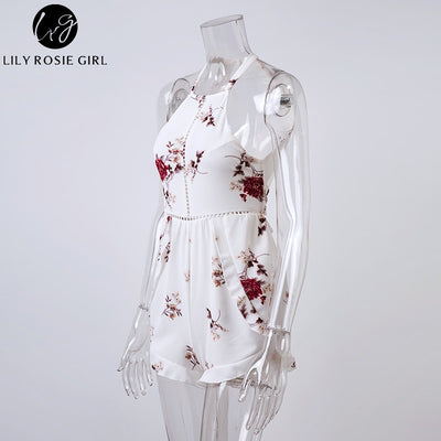 Lily Rosie Girl Hollow Out White Floral Print Sexy Jumpsuits Women Off Shoulder Summer Beach Short Rompers Boho Jumpsuits Overal
