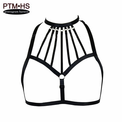 Goth Fearhers Epaulette Cage Bralette Lace crop Tops Bondage Shoulder Wings Adjust Size Fetish Erotic Burlesque Burnin Corset