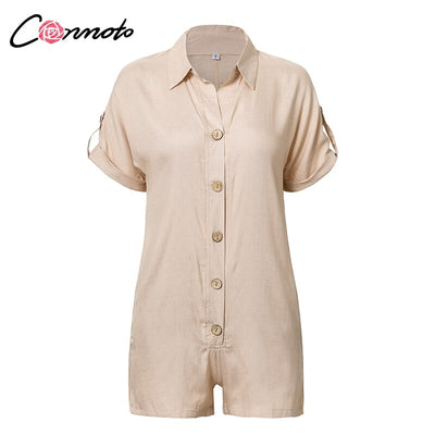 Conmoto 2019 Casual Summer Playsuits Women Solid High Fashion Beach Romper Playsuits Button Playsuit Rompers