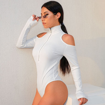 HEYounGIRL Turtleneck White Bodysuit Women Cotton Long Sleeve Bodysuit Women Casual Off Shoulder Body Feminino Bodycon Jumpsuits