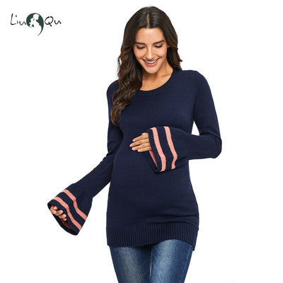 The Horn Sleeve Long Sleeve Nursing Maternity Sweater Womens Pregnant Pullovers Sweater Knitting Dresses Winter Clothing