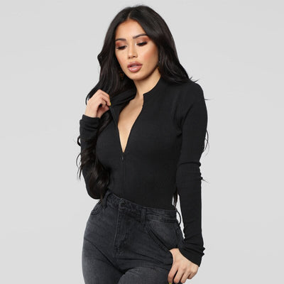 Cryptographic long sleeve bodycon bodysuit zipper sexy solid jumpsuit women autumn winter fashion V neck skniny bodysuits club