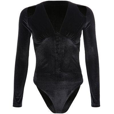Rapwriter Sexy Deep V-Neck Exposed Clavicle Velvet Skinny Bodysuits Women 2019 Spring Long Sleeve Bodycon Open Crotch Bodysuit