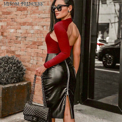 HITOM PRINCESS Sexy One Shoulder Backless Skinny Bodysuits Women Autumn Long Sleeve Hollow Out Jumpsuit Club Stretchy Bodysuit