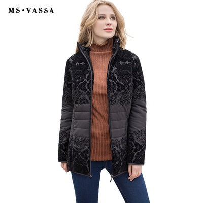 MS VASSA Women Jacket New Autumn fashion lady casual Winter jacket with flock turn-down collar plus over size 6XL 7XL outerwear