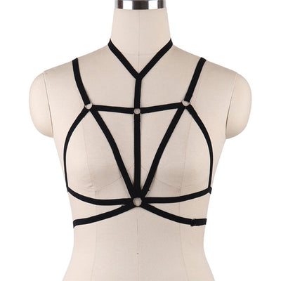 2017 Womens Body Harness Belt Black Elastic Strappy Tops Cage bra Exotic Alluring BDSM  Bondage Lingerie Fetish Club Party Wear