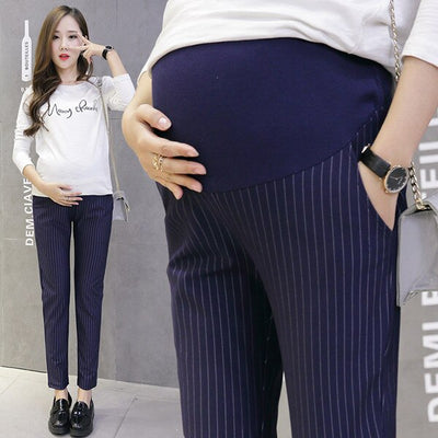 006# 9/10 Vertical Stripes Cotton Belly Maternity Pants Elastic Waist Pencil Trousers Clothes for Pregnant Women Pregnancy Pants