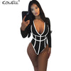 Hot Sale Long Sleeve Bodysuit Jumpsuit Women Rompers Bodycon Black Red Elegant Patchwork Deep-V One Piece Skinny Sexy Bodysuit