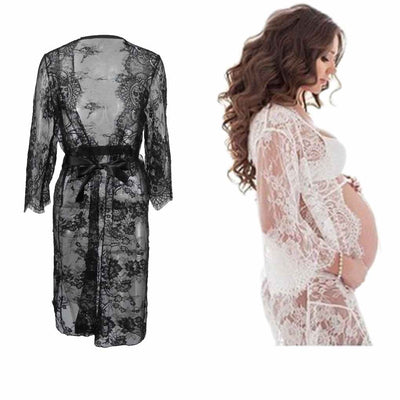Woman Girl Lace Sexy V-Neck Photography Dress Skirt Robe Clothes Women White Skirt Maternity Photography Props Lace Pregnancy