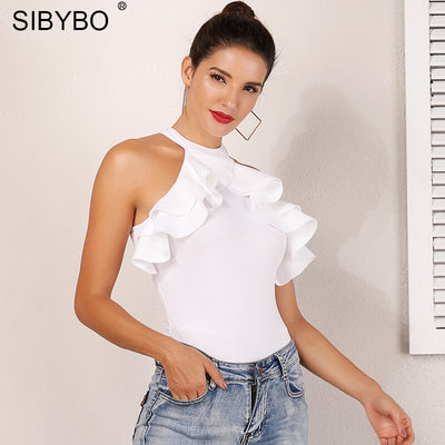 Sibybo Ruffles Skinny Sexy Bodysuit Women Fashion Sleeveless O-Neck Summer Romper Women Solid Beach Casual Bodysuit Jumpsuit