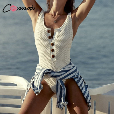 Conmoto Sexy White Beach Swimwear Bodysuit Women Button Summer Bodysuits High Fashion 2019 Swim Bodysuit