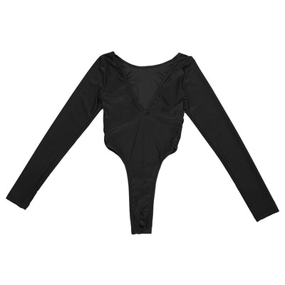 Women Sexy Black Long Sleeve High Cut Crotchless Leotard Bodysuit Jumpsuit Thong Sleeveless Leotard Nightwear