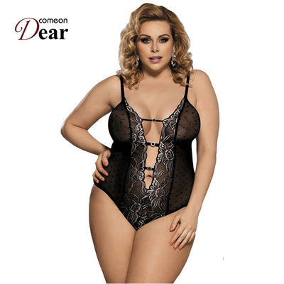 Comeondear Body Women Lace Embroidery Black Bodysuit Sexy See Though Hollow Out Deep V Neck Plus Size Mesh Bodysuit RA80320