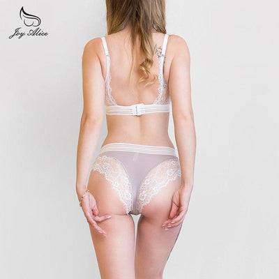 high-end brand 2019 New Arrival lace bra set wire free underwear set women panties thin cup hollow lace intimates bras lingerie