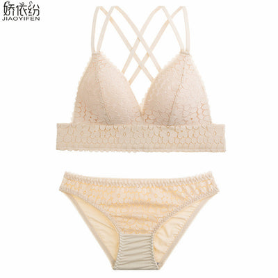 New Ultra-thin Wire Free Comfortable Bra Set Europe Sexy Lace Women Underwear  Deep V French Bralette Unlined Push Up Bra Sets