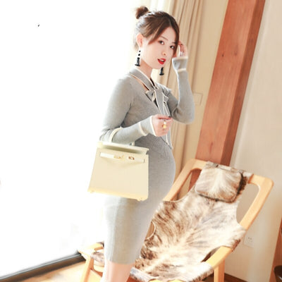 GRRCOSY Maternity Dress Autumn Winter Pregnancy Clothes For Pregnant Women Mummy Clothing With Bow