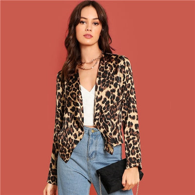 Sheinside Leopard Print Satin Coat Women Cropped Jacket 2018 Autumn Long Sleeve Top Casual Outwear Waterfall Collar Ladies Coats