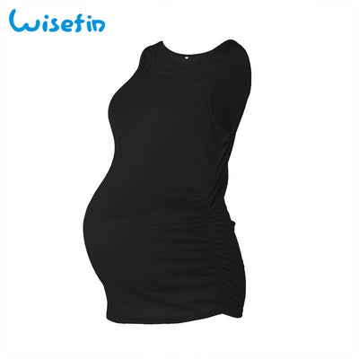 Wisefin Women Tops Maternity T-Shirt Summer Sleeveless Solid Pregnancy Clothing Breastfeeding Tee Shirt Casual Nursing Tshirt
