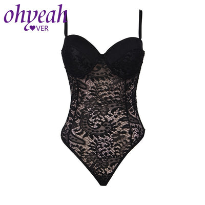 Ohyeahlover Sexy Bodysuit Lace Combinaison Femme Plus Size Body Women RM80285 Embroidery Push-up Cup Playsuits And Jumpsuits
