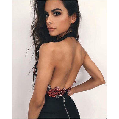 Sexy Womens fashion Floral Embroidered V-Neck halter backless sleeveless Party casual Bodysuit