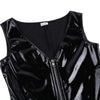 Women PU Leather Wetlook One-piece Deep V Neck Front Zipper Leotard Bodysuit Catsuit Clubwear Sexy Club Costumes Bodystocking