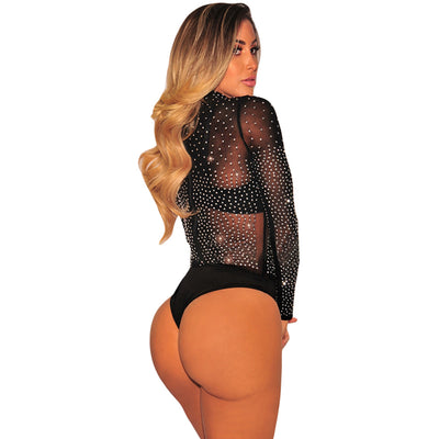 SEBOWEL Sexy Black Mesh Silver Studded Bodysuit Women Rhinestone See Through Jumpsuits Sheer Mesh Combinaison Femme Body Suit