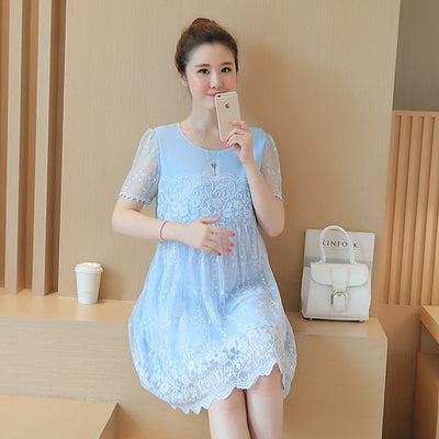 Maternity Clothes 2018 Spring Summer Maternity Short Lace Patchwork Plus Size Loose Dress Pregnancy Clothes for Pregnant Women