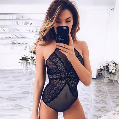 Gagaopt Sexy Lace Bodysuit Perspective Embroidery Romper Women Jumpsuit Summer Combination Halter Backless women bodysuit