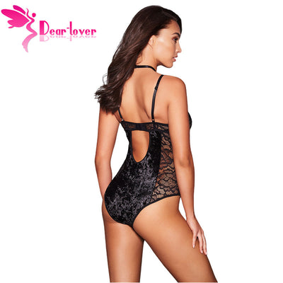 Dear Lover 2019 New Sexy Black Bodysuit Women Velvet and Lace Body suit Lace Up Backless Rompers Womens Skinny Jumpsuit LC32330