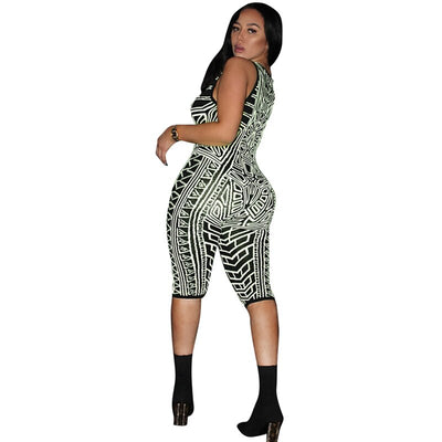Summer Women Print Playsuit Sexy Bodycon Sleeveless V-neck Romper Jumpsuit Skinny Club Outfit Elegant Party Bodysuit Overall