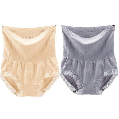 Feilibin 2Pcs/lot High Waist Women Slimming Panties Shapewear Tummy Control Panties Body Shapers Underwear Sexy Lace Lingerie
