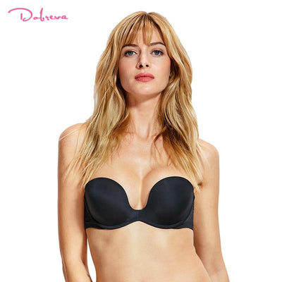 DOBREVA Women's Push up Multiway Strapless Bra Plunge Underwear