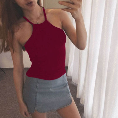 Bandage Halter Tank Tops Camisole Sexy Women Cut Out White Crop Top Crochet Cropped tops Female