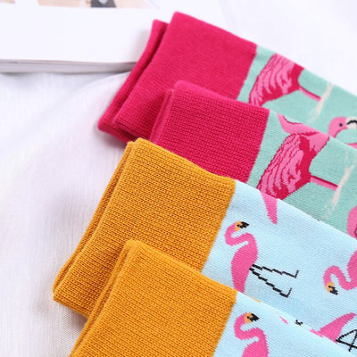 Women Size Crew Socks Animal Greater Hot Flamingo Fire Flame Bird Phoenicopteridae Phoenicopterus Red Crowned Crane Stork Aves