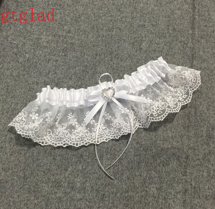 Wedding Garter Rhinestone Beading White Embroidery Floral Sexy Garters for  Women Female Bride Thigh e8644ef0aeba