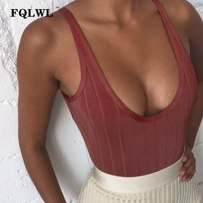 FQLWL Ribbed Kintted White Bodysuit Sexy Body Femme Basic Backless Sleeveless Black Bodycon Jumpsuit Summer Romper Women Tops