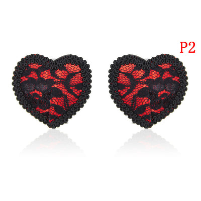 1 Pair Lace Women  Sexy Self Adhesive Sequin Tassel Cover Heart Shape Bra Nipple Cover Pasties Breast Petals
