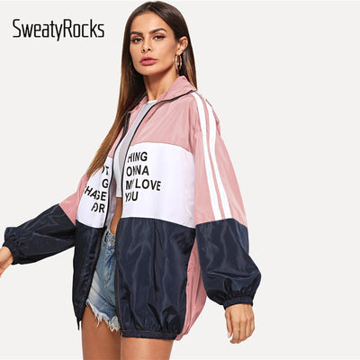 SweatyRocks Athleisure Zip Up Color-block Windbreaker Letter Jacket 2018 Fashion Multicolor Zip Up Women Ladies Autumn Overcoats